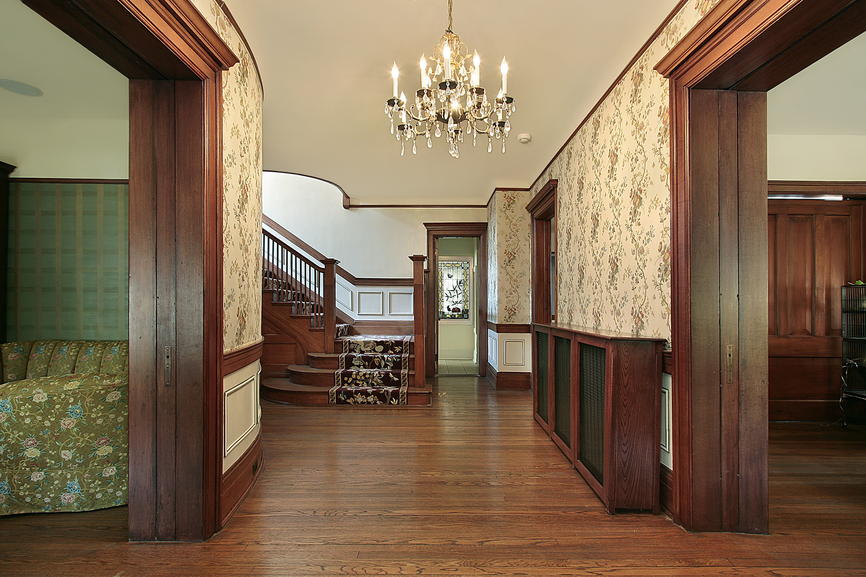 Foyer with wood paneling